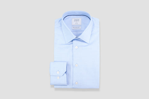Smyth & Gibson S.W.E. Non Iron Textured Dobby Slim Fit Shirt in Sky Blue