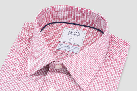 Smyth and Gibson Non Iron Texture Check Twill Slim Fit Shirt in Red - Smyth & Gibson Shirts
