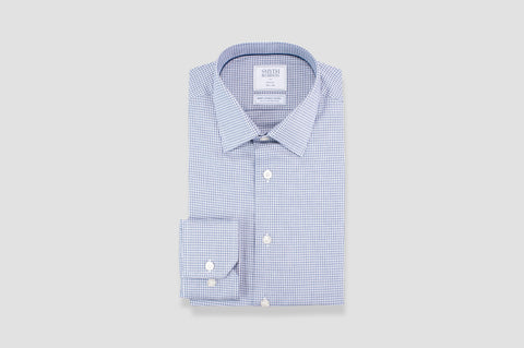 Smyth and Gibson Non Iron Texture Check Twill Slim Fit Shirt in Navy