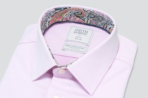 Smyth & Gibson S.W.E. Textured Weave Shirt in Pink with Liberty Floral Contrast Collar - Smyth & Gibson Shirts