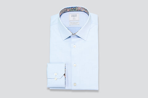 Smyth & Gibson S.W.E. Textured Weave Shirt in Blue with Liberty Floral Contrast
