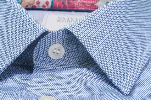 Smyth & Gibson S.W.E. Circle Weave Shirt in Blue with Liberty Floral Contrast Collar