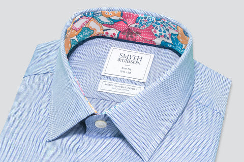 Smyth & Gibson Circle Weave Shirt in Blue with Liberty Floral Contrast Collar - Smyth & Gibson Shirts