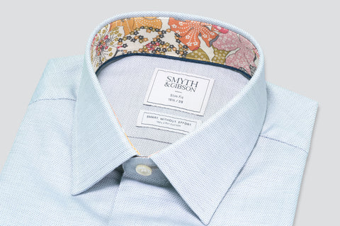 Smyth & Gibson Circle Weave Shirt in Light Grey with Liberty Floral Contrast Collar - Smyth & Gibson Shirts
