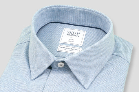 Smyth & Gibson S.W.E. Textured Brushed Cotton Shirt in Blue