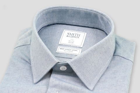 Smyth & Gibson S.W.E. Brushed Cotton Twill Shirt in Blue - Smyth & Gibson Shirts