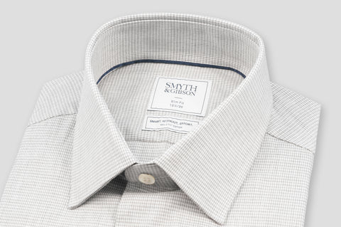 Smyth & Gibson S.W.E. Brushed Cotton Houndstooth Check Shirt in Grey