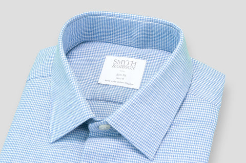 Smyth & Gibson Houndstooth Brushed Cotton Slim Fit Shirt in Sky Blue - Smyth & Gibson Shirts