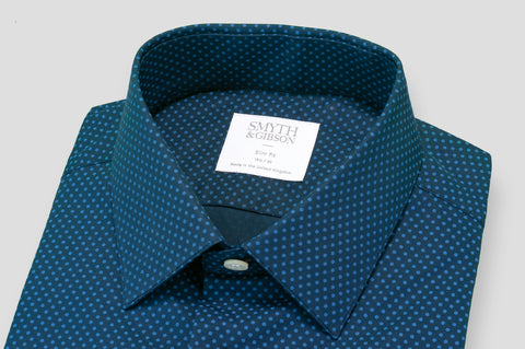 Smyth & Gibson Blue Polka Dot Print Slim Fit Shirt in Navy - Smyth & Gibson Shirts