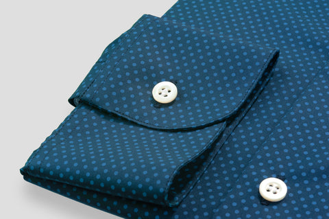 Smyth & Gibson Blue Polka Dot Print Slim Fit Shirt in Navy