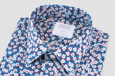 Smyth & Gibson Liberty Floral Print Slim Fit Shirt in Blue - Smyth & Gibson Shirts