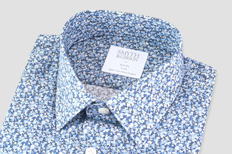 Smyth & Gibson Liberty Pepper Print Slim Fit Shirt in Blue - Smyth & Gibson Shirts