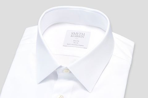 Smyth & Gibson Plain Twill Slim Fit Shirt in White