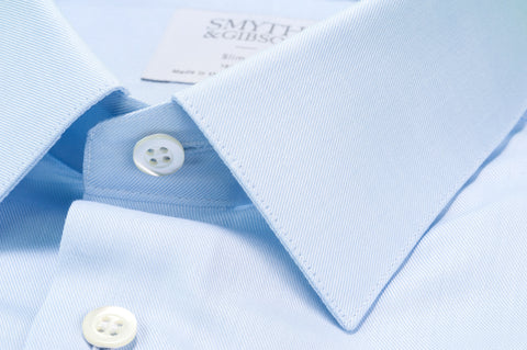 Smyth & Gibson Plain Twill Slim Fit Shirt in Sky Blue