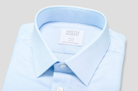 Smyth & Gibson Plain Twill Slim Fit Shirt in Sky Blue - Smyth & Gibson Shirts