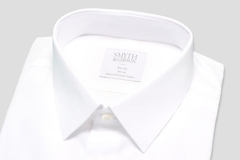 Smyth & Gibson Plain Poplin Slim Fit Shirt in White - Smyth & Gibson Shirts