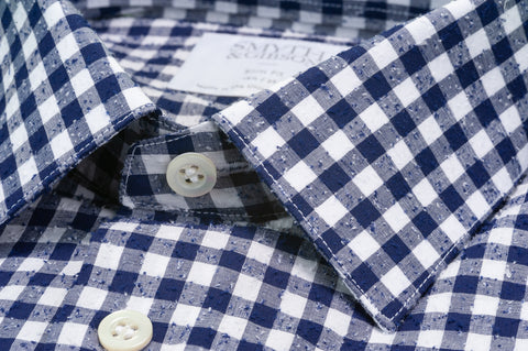 Smyth & Gibson Raw Boucle Gingham Shirt Slim Fit in Navy
