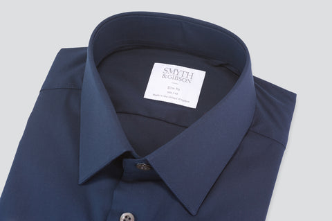 Smyth & Gibson Luxury Stretch Poplin Slim Fit Shirt in Navy