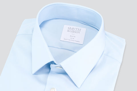 Smyth & Gibson Luxury Stretch Poplin Slim Fit Shirt in Sky Blue - Smyth & Gibson Shirts