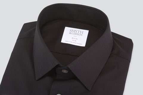 Smyth & Gibson Luxury Stretch Poplin Slim Fit Shirt in Black
