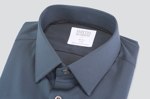 Smyth & Gibson Luxury Stretch Poplin Slim Fit Shirt in Charcoal - Smyth & Gibson Shirts
