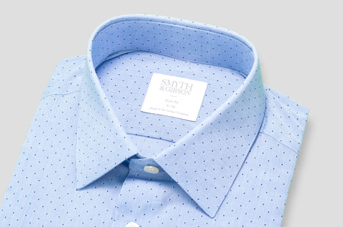 Smyth & Gibson Shadow Diamond Dot Shirt in Sky Blue - Smyth & Gibson Shirts