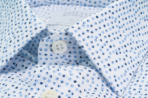 Smyth & Gibson Multi Dot Print Tailored Fit Shirt in Blue