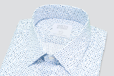 Smyth & Gibson Multi Dot Print Tailored Fit Shirt in Blue - Smyth & Gibson Shirts