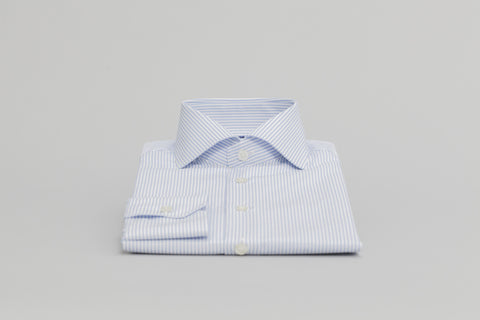 Smyth & Gibson S.W.E. Non-Iron Bengal Stripe Contemporary Fit Shirt in Sky Blue