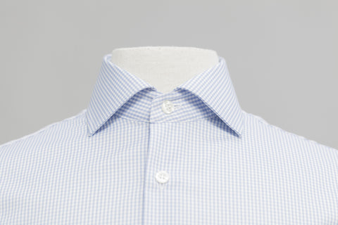 Smyth And Gibson Mens Non-Iron Sky Blue Gingham Check 100% Cotton Shirt