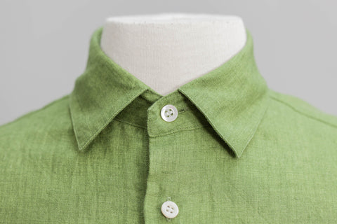 Smyth and Gibson Tailored Fit Irish Linen Shirt in Green Moss