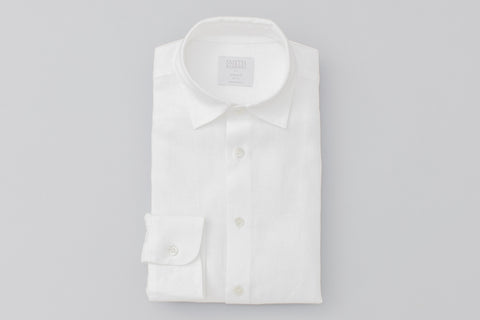 Smyth and Gibson Irish Linen Shirt Tailored Fit Shirt in White - Smyth & Gibson Shirts