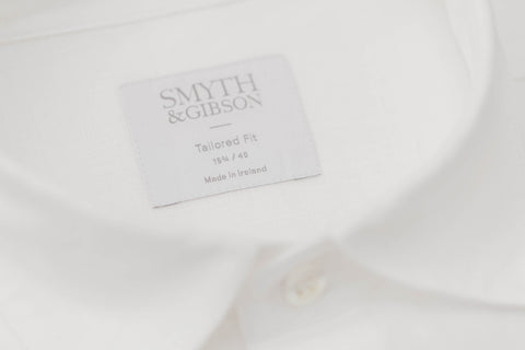 Smyth and Gibson Irish Linen Shirt Tailored Fit Shirt in White