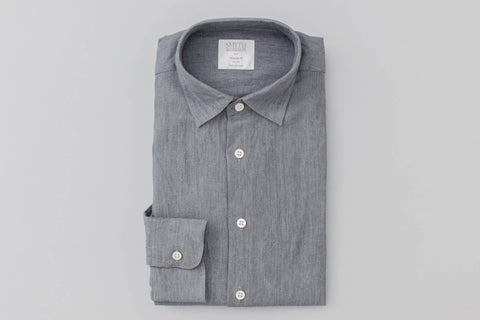Smyth and Gibson Tailored Fit Irish Linen Shirt In Grey
