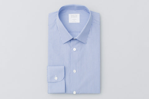 Smyth and Gibson Pinstripe Sky Blue Poplin Shirt in Navy - Smyth & Gibson Shirts