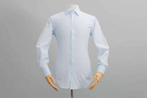 Smyth And Gibson Twill Tailored Fit Double Cuff Shirt In Sky Blue - Smyth & Gibson Shirts