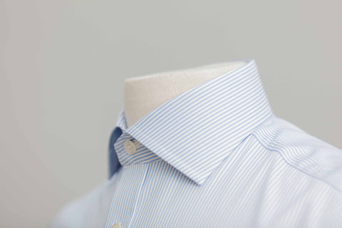 Smyth And Gibson Bengal Stripe Twill Cutaway Collar Shirt In Sky Blue