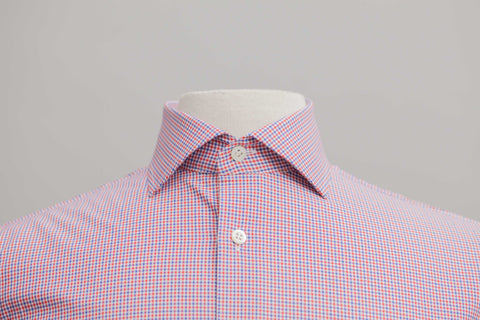 Smyth and Gibson Multicheck Tailored Fit Shirt in Red & Navy