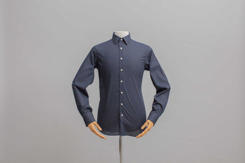 Smyth and Gibson Micro Spot Print Slim Fit Shirt in Navy