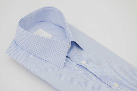 Smyth and Gibson Puimino Circle Print Tailored Fit Shirt in Sky Blue