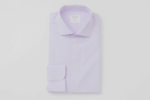 Smyth and Gibson 120 Thread Count Micro Gingham Check Tailored Fit Shirt in Lilac - Smyth & Gibson Shirts