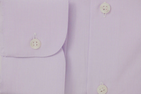 Smyth and Gibson 120 Thread Count Micro Gingham Check Tailored Fit Shirt in Lilac