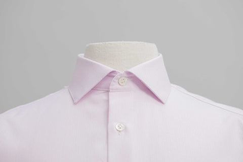 SMYTH & GIBSON TEXTURED WEAVE PANAMA TAILORED FIT SHIRT IN SOFT PINK - Smyth & Gibson Shirts