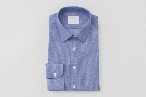 Smyth and Gibson Chambray Denim Print Tailored Fit Shirt in Blue - Smyth & Gibson Shirts