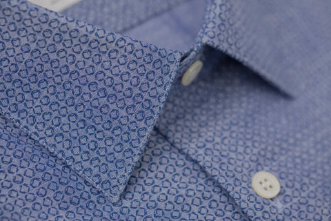 Smyth and Gibson Chambray Denim Print Tailored Fit Shirt in Blue