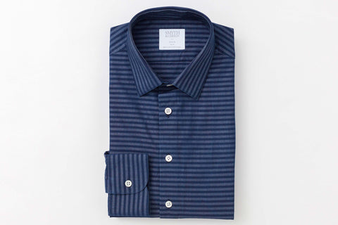 Smyth and Gibson Denim Barre Stripe Slim Fit Shirt in Indigo - Smyth & Gibson Shirts