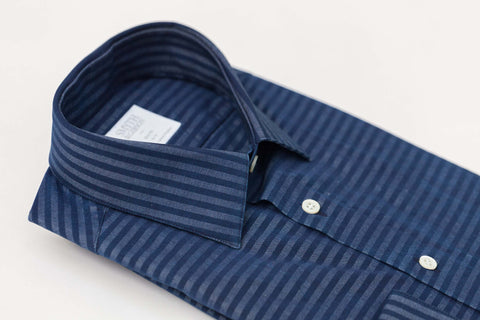 Smyth and Gibson Denim Barre Stripe Slim Fit Shirt in Indigo