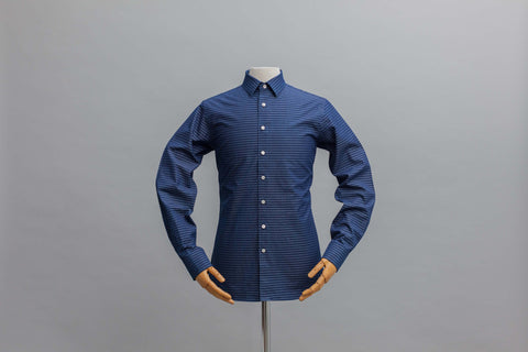 Smyth & Gibson Denim Barre Stripe Slim Fit Shirt in Indigo