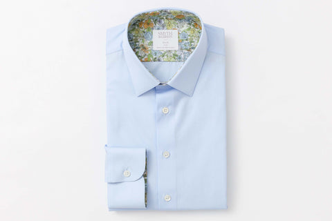 Smyth and Gibson Liberty Print Contrast Slim Fit Shirt in Sky Blue - Smyth & Gibson Shirts