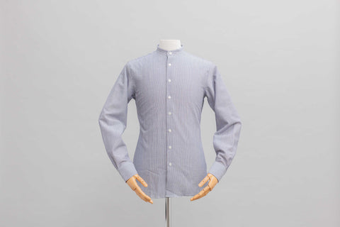 Smyth and Gibson Seersucker Striped Grandad Collar Slim Fit Shirt in Indigo